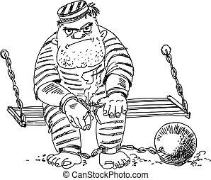 domownik, wektor, ilustracja, więzienie