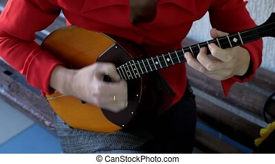 domra, musicien, ficelle, instrument., jeux, national