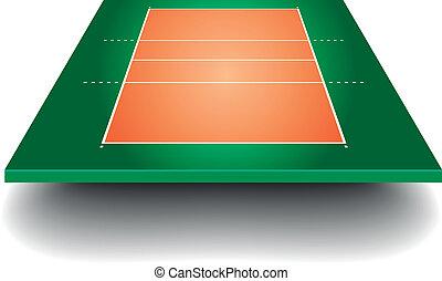 domstol, perspektiv, volleyboll