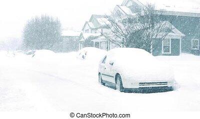 domy, śnieżyca, wozy