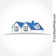 domy, apartamenty, wektor, logo