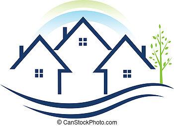 domy, apartamenty, z, drzewo, logo