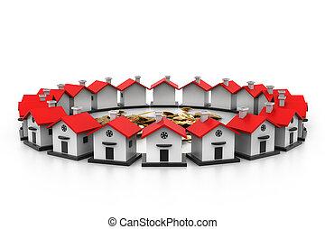 domy, circle.(home, concept), wybór