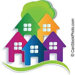 domy, drzewo, logo