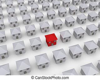 domy, dużo, różny, ale, jeden