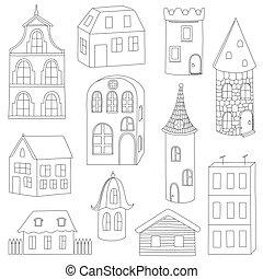 domy, komplet, doodle
