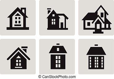 domy, komplet, ikona