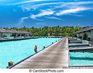 domy, kupy, sea., maldives.