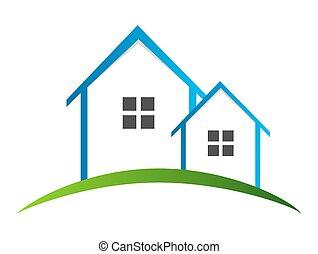 domy, logo, wektor, ilustracja