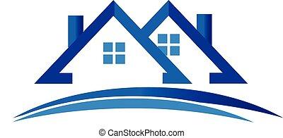 domy, logo, wektor