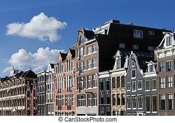 domy, niderlandy, kanał, amsterdam, holenderski