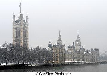domy, od, parlimant, gmach, londyn, anglia