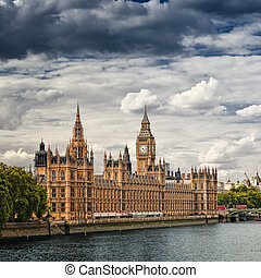domy, parlament, london.
