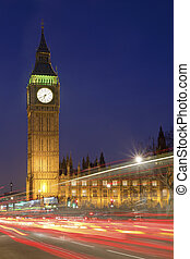 domy parlamentu, i, cielna ben, w nocy, londyn