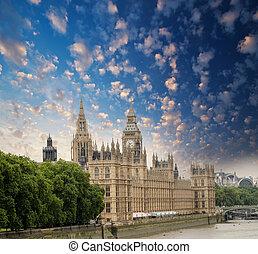 domy parlamentu, w, londyn, uk., piękny, prospekt, z,...