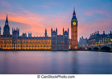 domy parlamentu, w nocy, londyn