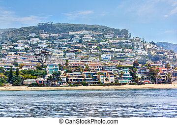 domy, południowy, newport, przybrzeżny, kalifornia, oceanfront, plaża