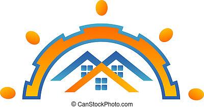 domy, projektować, logo