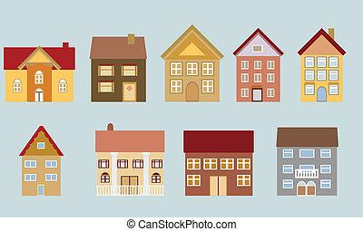 domy, różny, architektura