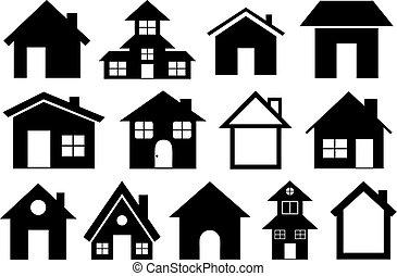 domy, różny, komplet