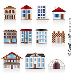 domy, różny, warianty