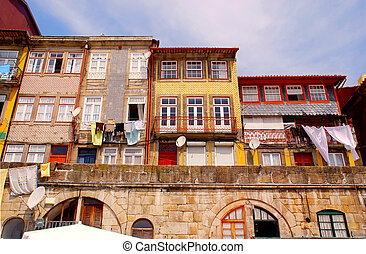 domy, ribeira, stary, portugalia, porto