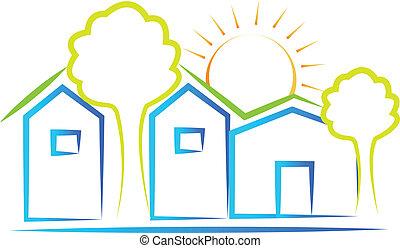 domy, słońce, drzewo, logo