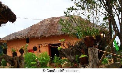 domy, tradycyjny, etniczny, ziemia, mniejszoś, wietnam