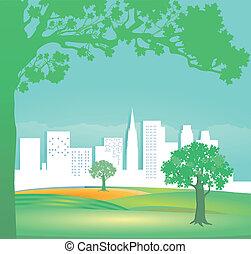domy, tre, zielony krajobraz