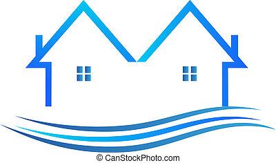 domy, w, błękitny, kolor, wektor, logo