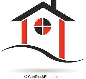 domy, w, czerwony, i, czarnoskóry, logo