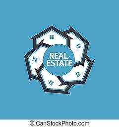 domy, w kole, logo, projektować