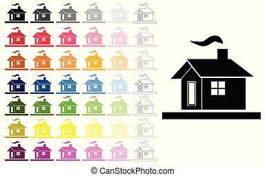 domy, wektor, komplet, w, wieloraki, kolor