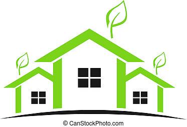 domy, zielony