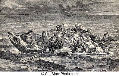 Don Juan's Shipwreck - Antique engraved illustration showing...