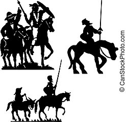 Don Quixote - Don Quijote vector silhouettes. Don Quixote.