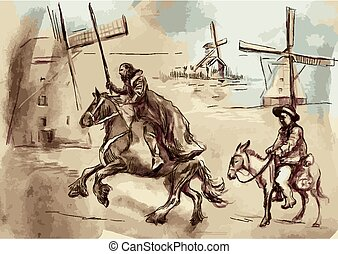 Don Quixote - An hand painted vector illustration. Digital drawing technique.
