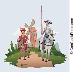 Don Quixote and Sancho Panza riding on windmill background. Book characters. Flat vector illustration.