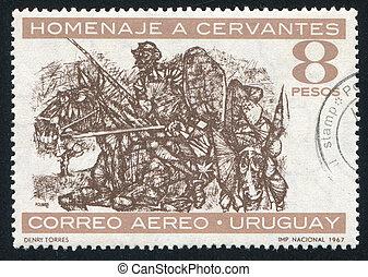 Don Quixote and Sancho Panza - URUGUAY - CIRCA 1967: stamp...