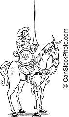 Line art illustration of Don Quixote of the Mancha isolated on white background.