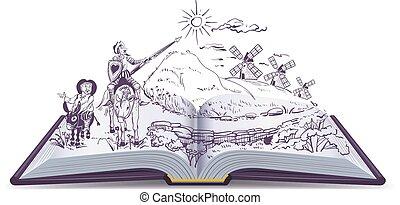 Don Quixote open book vector cartoon illustration. Spanish...