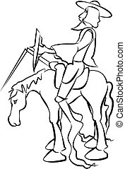 don quixote - silhouete of fiction character - knight and...