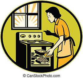 dona de casa, assando, pão, massa, prato, forno, retro