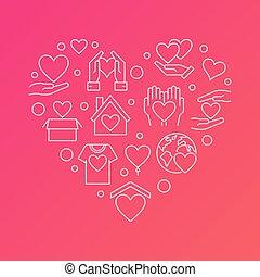 donación, contorno, vector, heart., caridad, moderno, ilustración