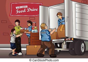 donación, gente, cajas, empaquetar