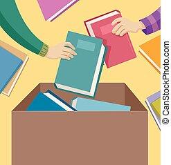 donación, manos, libro