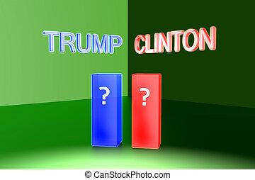 donald, 나팔, 대, hillary, clinton., 미국, 선거, 2016