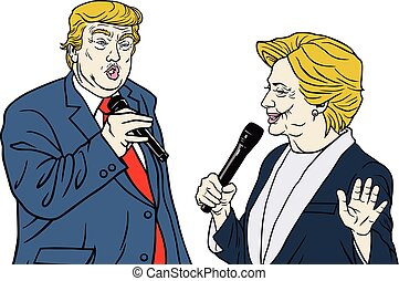 donald, clinton, hillary, vs., triunfo