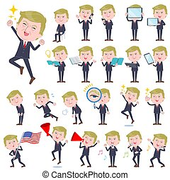 A set of men Donald Trump caricature with digital equipment such as smartphones. There are actions that express emotions. It's vector art so it's easy to edit.