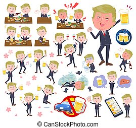 A set of men Donald Trump caricature related to alcohol. There is a lively appearance and action that expresses failure about alcohol. It's vector art so it's easy to edit.
